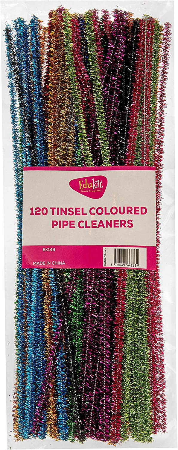 in assorted colours Craft All-Purpose Wire Pipe Cleaners 15cm x 6mm. edukit Pack of 120 pipe cleaners Shiny Metallic Sparkle Tinsel