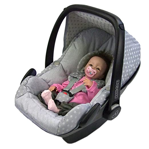 Bambiniwelt Ersatzbezug Für Maxi Cosi Pebble 5 Tlg Bezug Für Babyschale Komplett Set Sterne Hellgrau Xx Baby