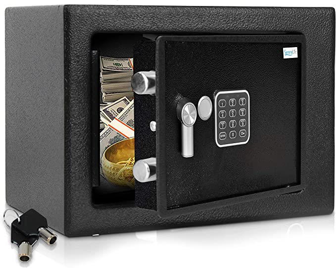 Amazon.com: Home Security Electronic Lock Box - Safe with Mechanical Override, Digital Combination Lock Safe, LED Low Battery Indicator, Includes Mounting Bolts, Keys & (4) x 'AA' Batteries - SereneLife SLSFE15: Home Improvement