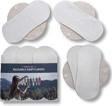 Natissy Salvaslips de tela reutilizables, 7-Pack Protege Slips de algodón ORGÁNICO con alas HECHAS EN LA UE, Compresas sin PUL, Toallas Sanitarias para uso diario y flujo blanco, NO para menstruación: Amazon.es: