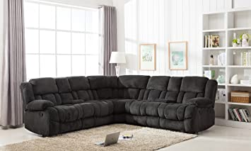Captivating Classic Large Linen Fabric L Shape Sectional Recliner Sofa Couch (Charcoal)