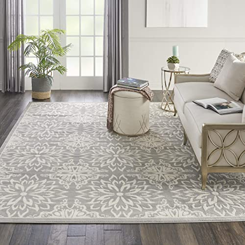 Nourison JUB06 Jubilant Transitional Floral Ivory/Grey Area Rug 7'10″ x 9'10″