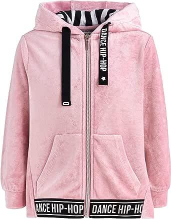 GULLIVER Sudadera con capucha para niña, color rosa, osito de terciopelo, 9, 12, 2-7 años, 98-128 cm