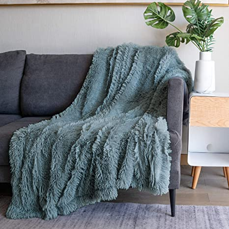 Soft Fuzzy Faux Fur Throw Blanket 50 X60 Reversible Lightweight Fluffy Cozy Plush Fleece Comfy Furry Microfiber Decorative Shaggy Blanket For Couch Sofa Bed Blue Gray Kitchen Dining