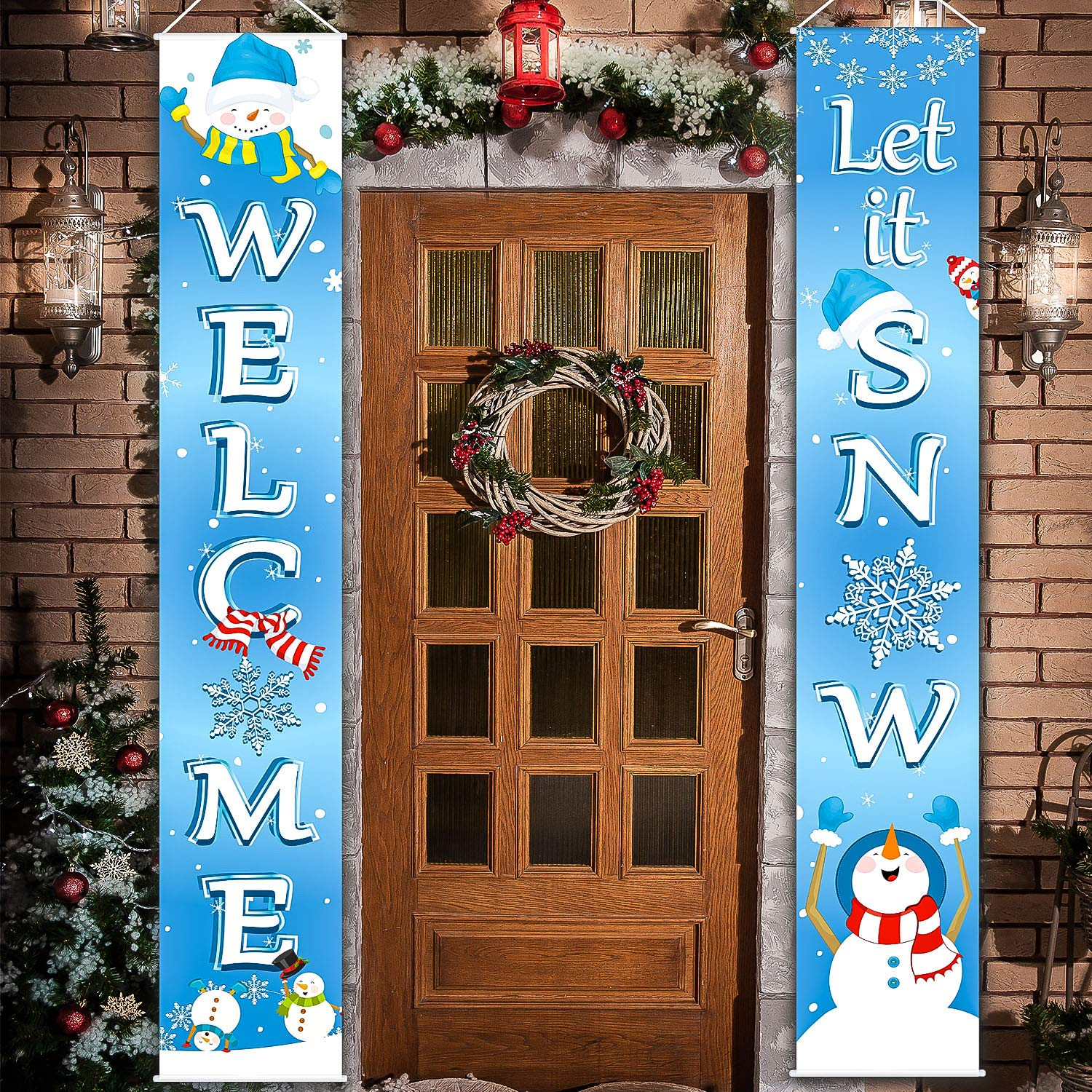 Christmas Decoration Set Christmas Porch Sign Welcome Merry Christmas Banner Christmas Hanging Garland for Frozen Winter Wonderland Party Decoration Xmas Winter Snow Party (Blue White Let It Snow, 2 P