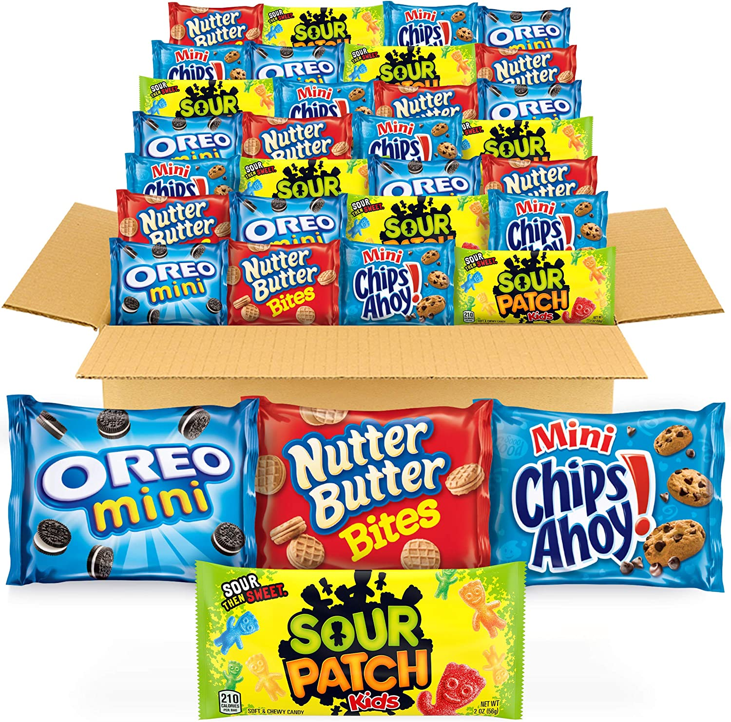 OREO Mini Cookies, CHIPS AHOY! Mini Cookies, SOUR PATCH KIDS Candy & Nutter Butter Bites Cookies & Candy Variety Pack, Easter Cookie Gifts, 32 Snack Packs