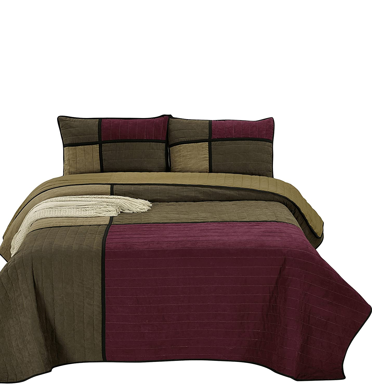Chezmoi Collection Montana 3-Piece Brown Burgundy Black Microsuede Patchwork Channel Quilt Set, Queen