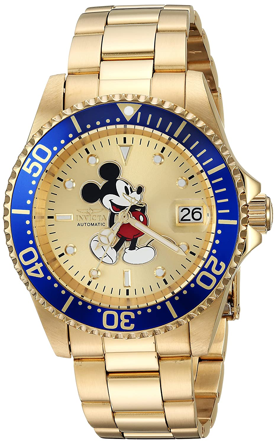Invicta Men s Disney Limited Edition Automatic-self-Wind Watch with Stainless-Steel Strap, Gold, 20 Model 25106