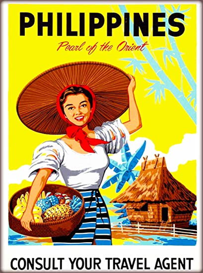 Philippines Pearl Of The Orient Vintage Travel Advertisement Art Collectible Wall Decor Poster Print Measures