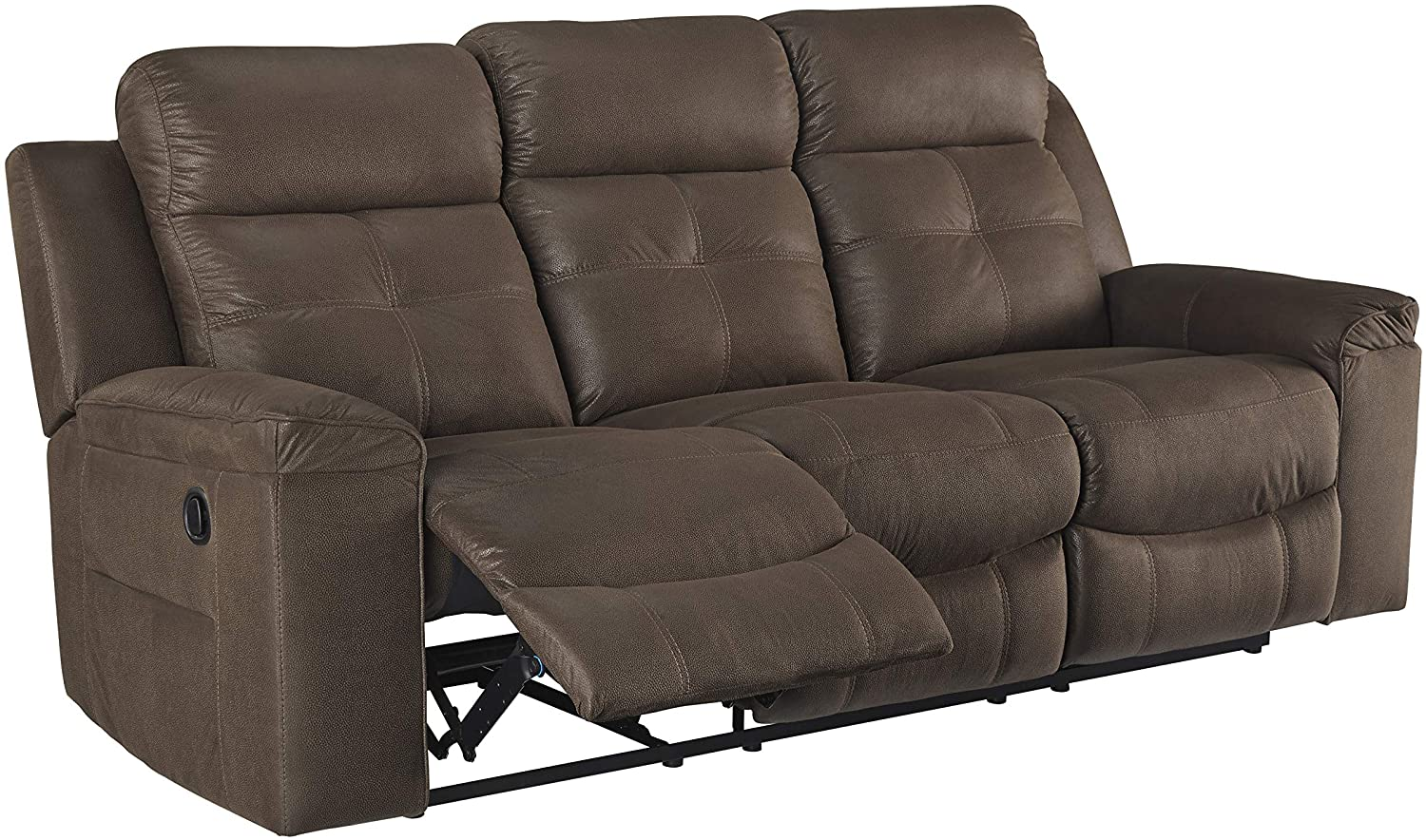 Signature Design by Ashley - Jesolo Casual Faux Leather Reclining Sofa - Pull Tab Reclining - Dark Brown