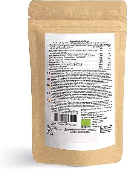 Moringa Oleifera Ecológica en Polvo [Calidad Premium] de 200g. Moringa Powder Organica, 100% Bio, Natural y Pura. Hojas Recogidas de la Planta de Moringa Oleífera. NaturaleBio: Amazon.es: Salud y cuidado personal