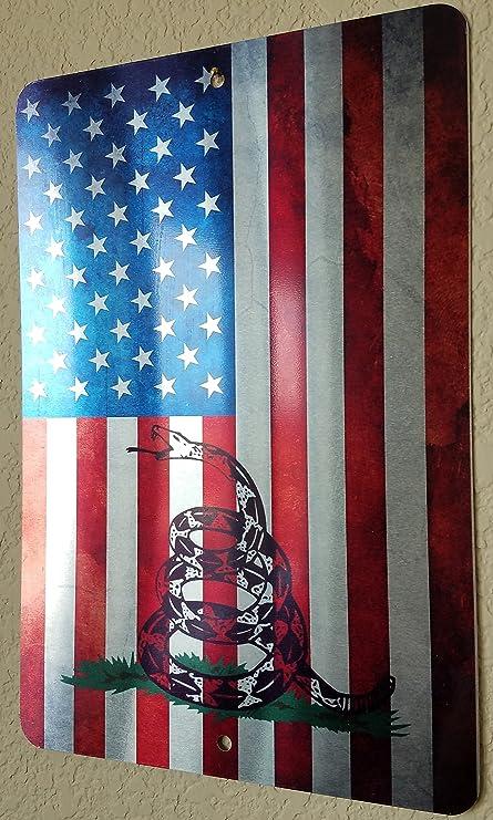 amazon com gadsden american flag vertical metal sign 12 x 8 don
