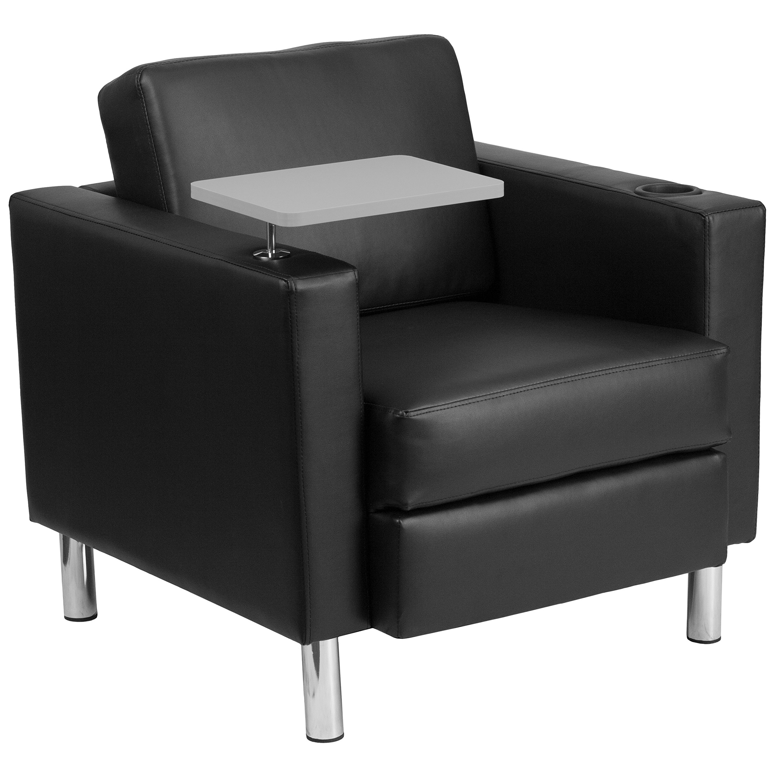 Flash Furniture Black Leather Guest Chair with Tablet Arm, Tall Chrome Legs and Cup Holder