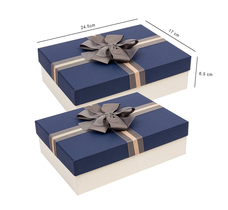 Emartbuy Set von 2 Starre Luxus Pr/äsentierte Geschenkbox in Rechteckform 24,5 cm /· 17 cm /· 6,5 cm Texturiert Elfenbein Farbe Box mit Blauem Deckel Innenseite Bedruckt und Satin Zierband