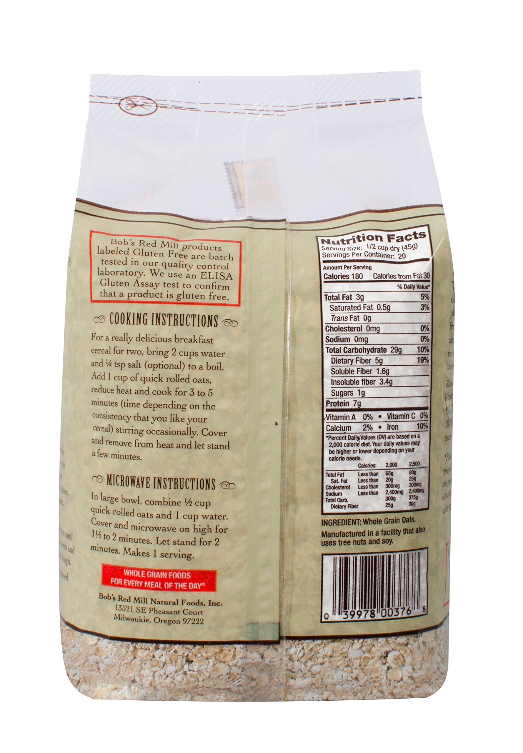Bob's Red Mill Gluten Free Organic Quick Cooking Rolled Oats, 32 Oz (4 Pack) by Bob's Red Mill (Image #4)
