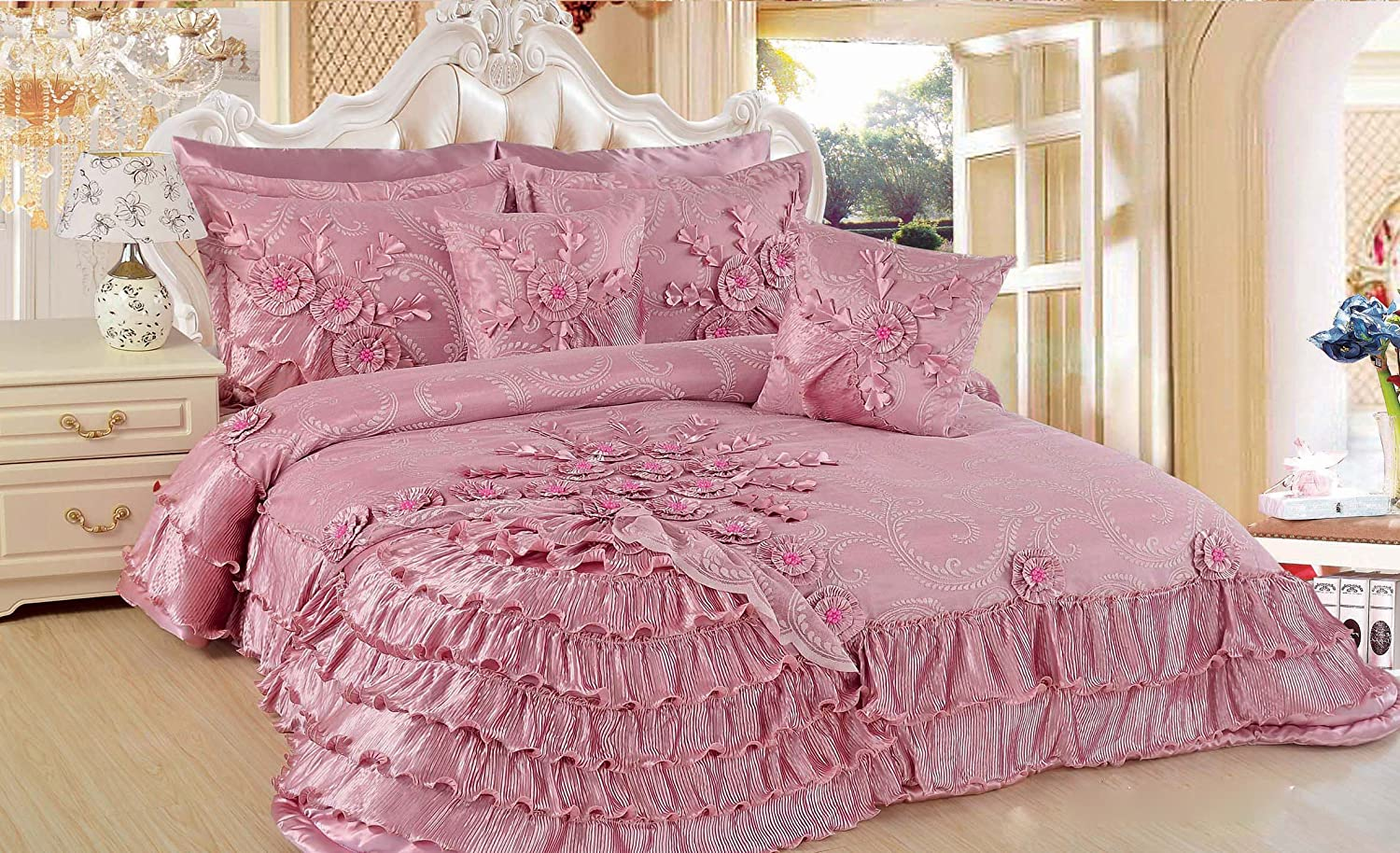 DaDa Bedding BM1227-CK5 5-Piece Blooming Comforter Set, Cal. King Size, Cherry Blossom Pink