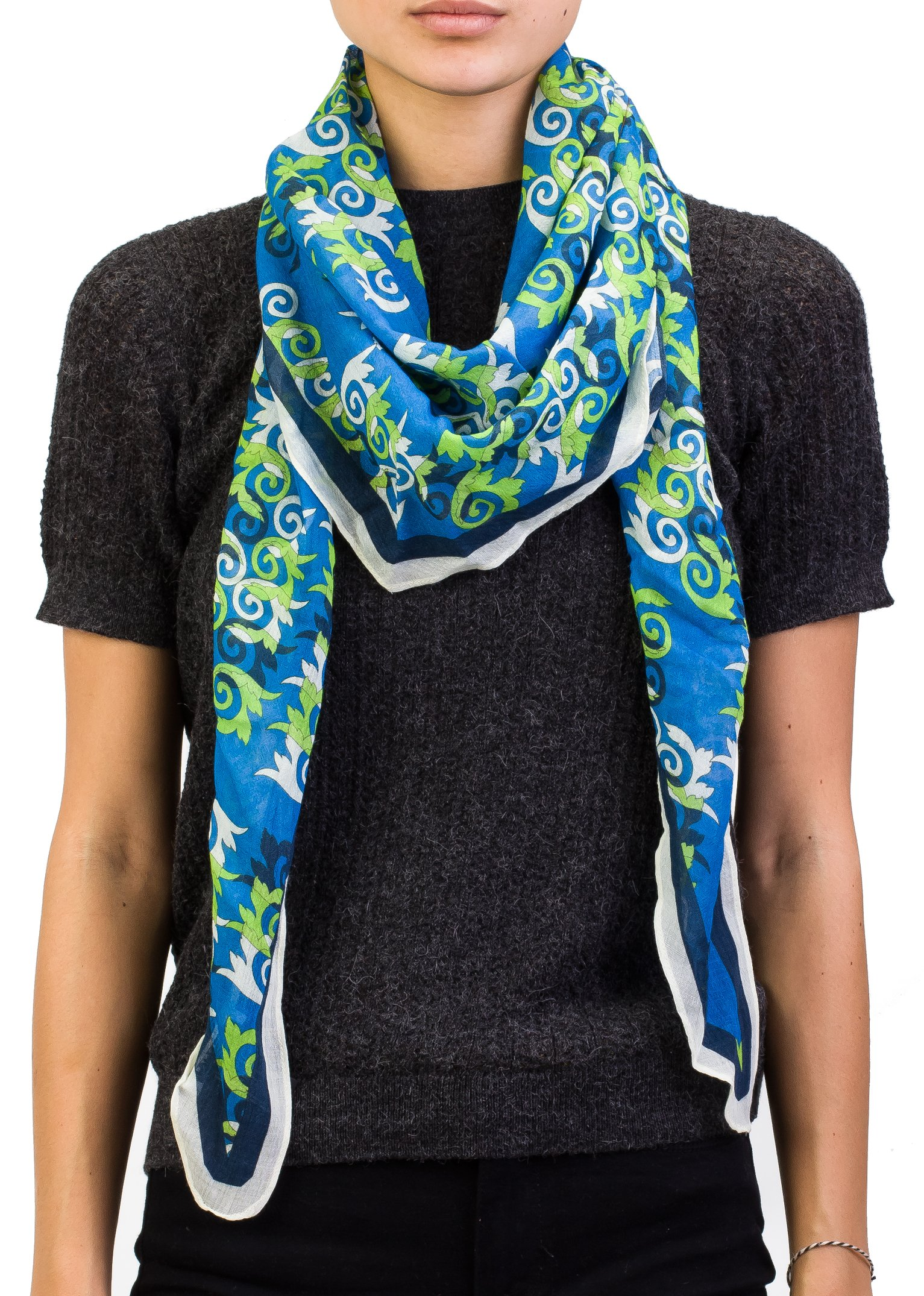 Versace Collection Women's Spiral Pattern Wool Scarf Blue Large