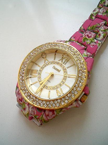 Sami RSM-77941-1 Reloj de Pulsera de Mujer Corona Cristal Correa Rosa Flowers Print: Amazon.es: Relojes