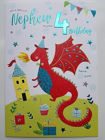Tarjeta de cumpleaños especial para sobrino de 4 años 7804 ...