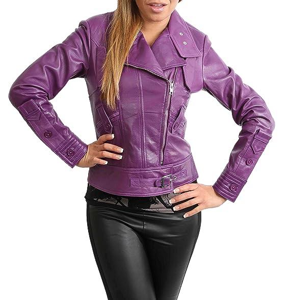 1f0dc6d16 Womens Cross Zip Slim Fit Biker Style Genuine Leather Jacket Hetty ...