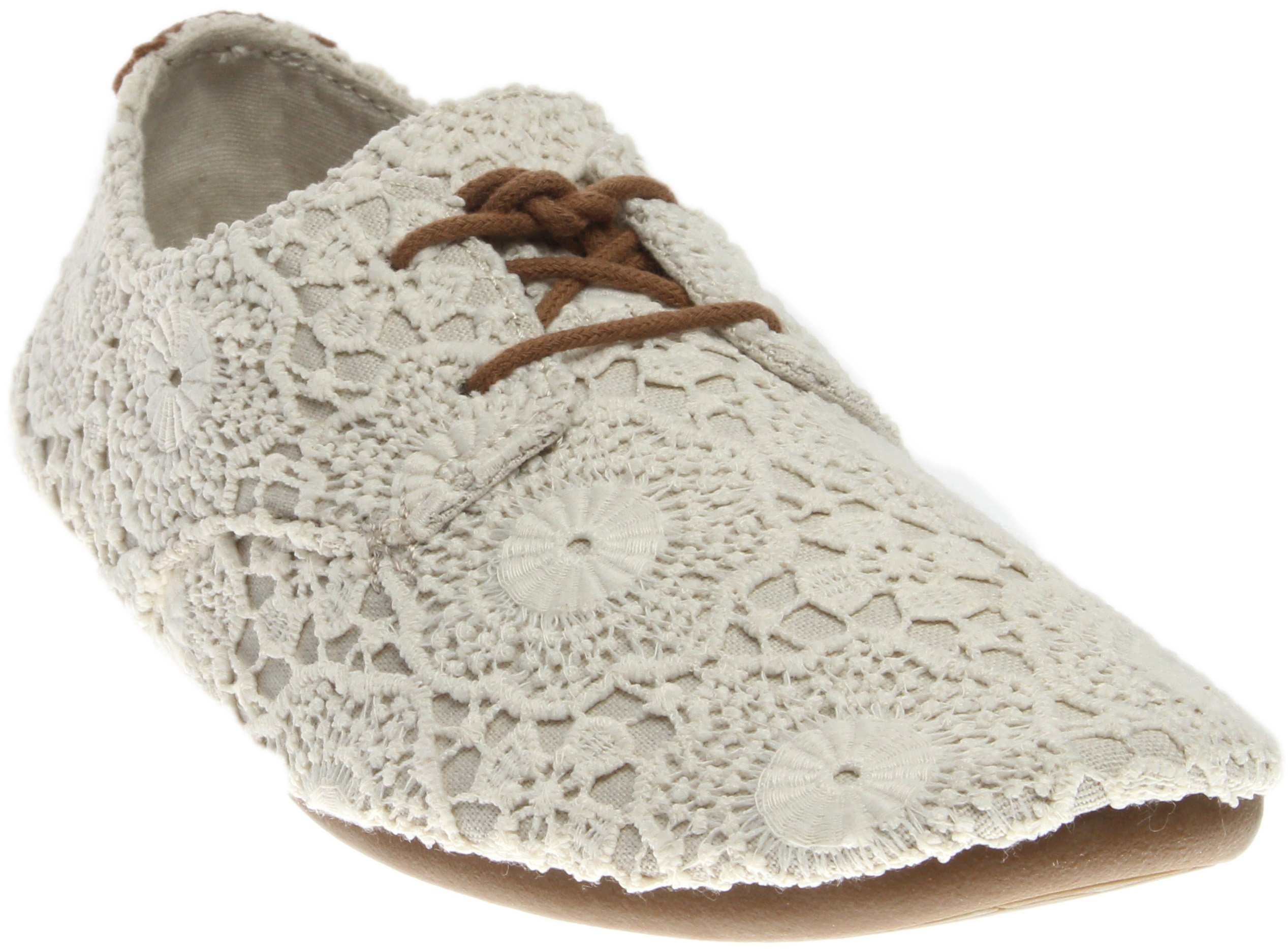 Sanuk Women's Bianca Crochet White/Oatmeal Oxford