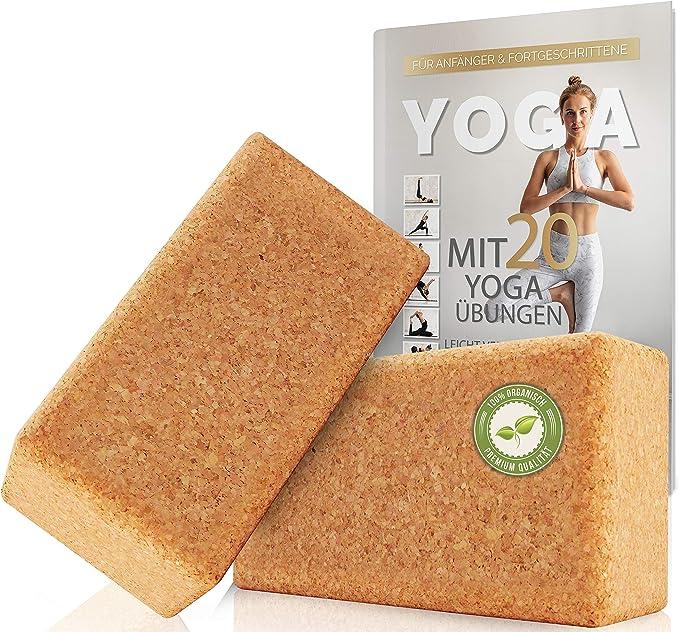 Yogaklotz 22x15x7cm f/ür Yoga Pilates und Fitness Block aus Naturkork SCHN/ÜRRLIE Yogablock