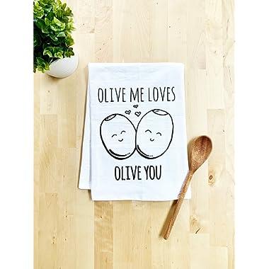 Funny Kitchen Towel, Olive Me Loves Olive You, Flour Sack Dish Towel, Sweet Housewarming Gift, White