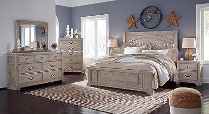Amazon.com: Charmen Casual White Wash Color Wood Bedroom Set: Queen ...