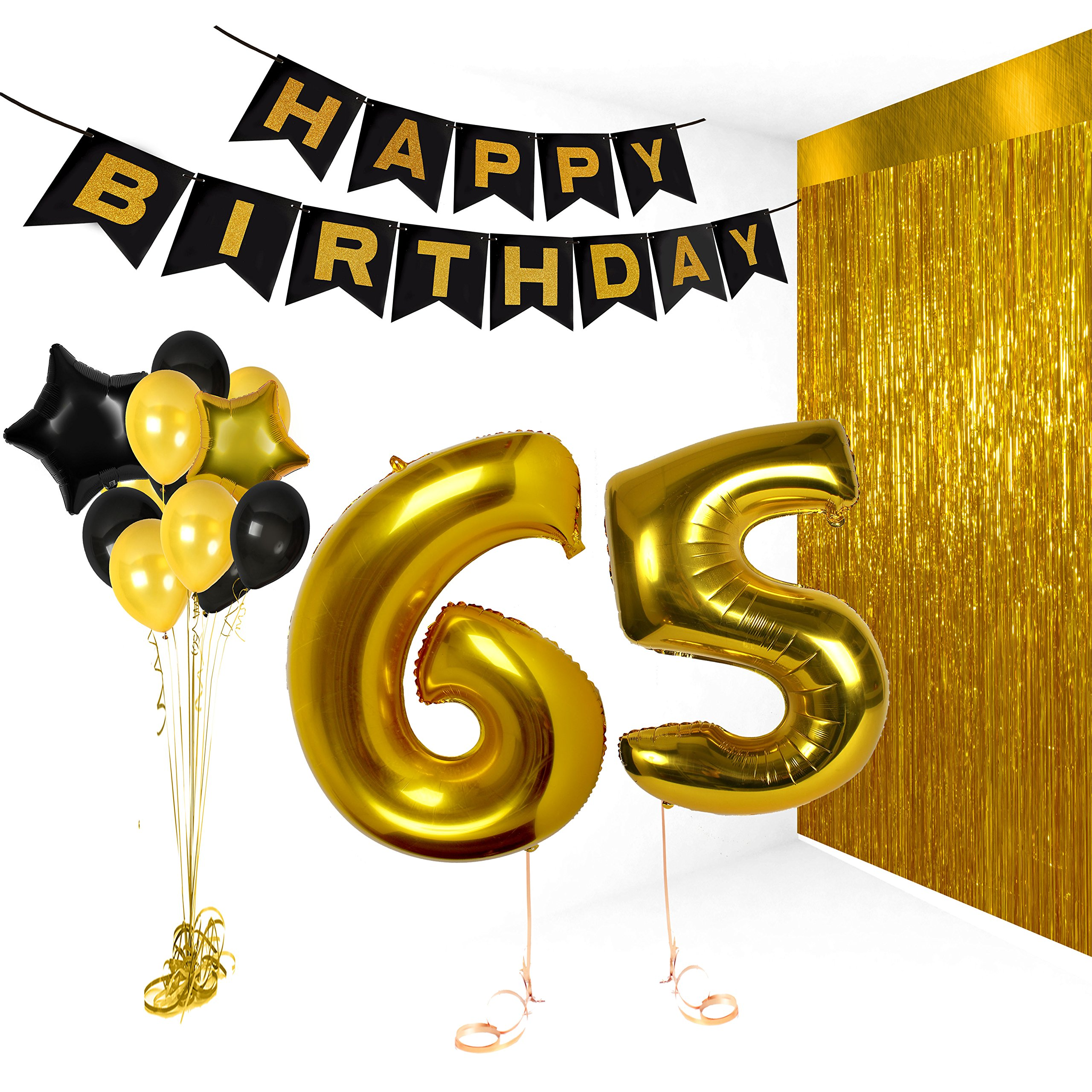 Treasures Gifted Happy 65th Birthday Decorations, Wedding Anniversary Party Banner Supplies, Decor Vday Balloons, Bday Gifts for Friends, Big Gold 40 Inch Foil Photo Props