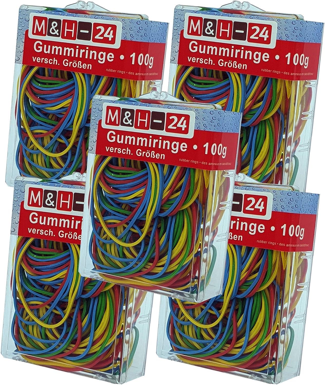 B/üro 300 Gramm Gummiringe Haushalts-Gummis Gummib/änder bunt gemischt farbig sortiert 300g im Beutel f/ür Haushalt Arbeit