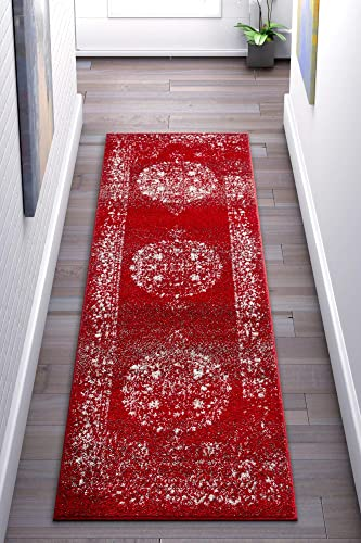 Well Woven Francesca Medallion Red Distressed Traditional Vintage Persian Floral Oriental Area Rug 2×7 2 3 x 7 3 Runner Carpet