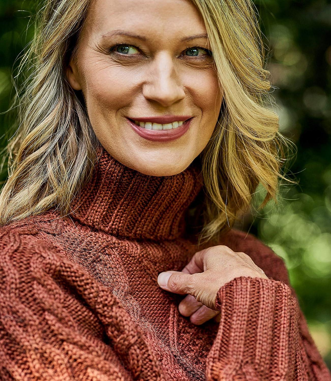 Woolovers Womens Pure Wool Aran Turtle Neck Sweater XS Brandy Apple