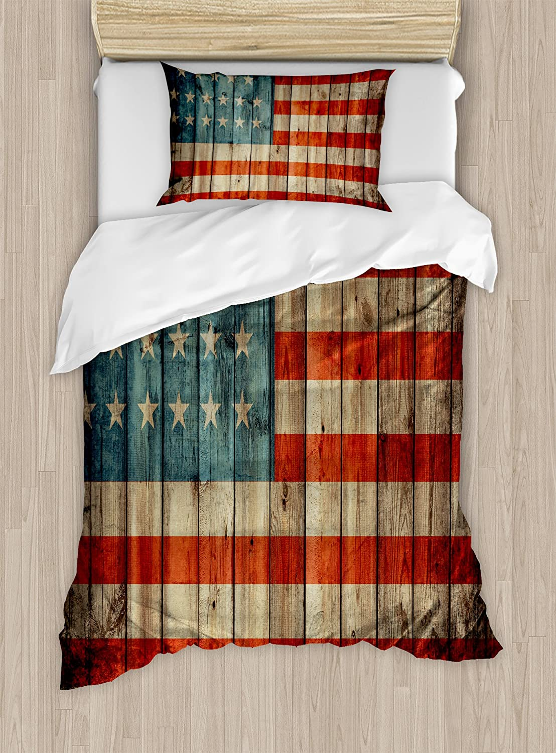 Ambesonne USA Duvet Cover Set, Fourth of July Independence Day Painted Old Wooden Rustic Background Patriot, Decorative 2 Piece Bedding Set with 1 Pillow Sham, Twin Size, Blue Red