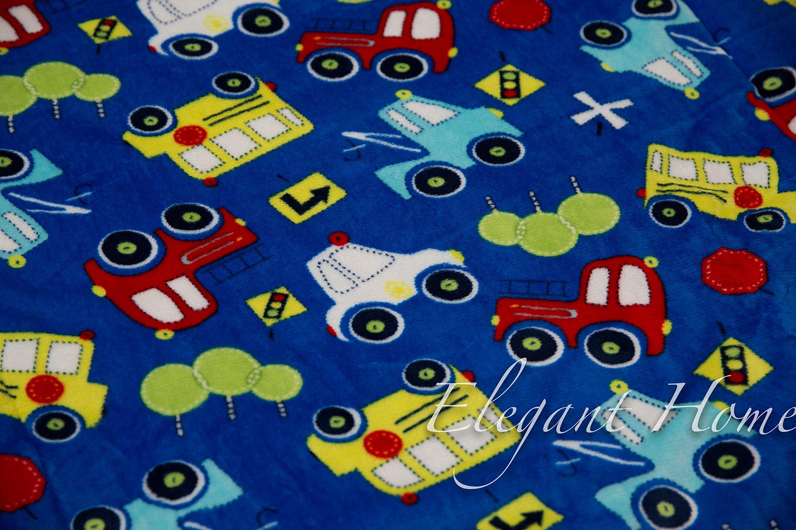 Elegant Home Kids Soft & Warm Sherpa Baby Toddler Boy Sherpa Blanket Multicolor Cars Trucks Buses Printed Borrego Stroller or Toddler Bed Blanket Plush Throw 40X50 # Cars by Elegant Home (Image #2)