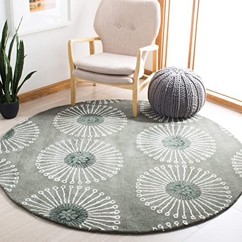 Safavieh Soho Collection SOH821C Handmade Grey and Ivory Premium Wool Round Area Rug 8' Diameter