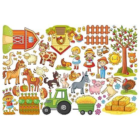 Wandtattoo Bauernhof farbenfroh im Set Kinderzimmer Deko
