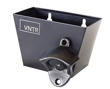 VNTR - Abrebotellas de acero inoxidable y hierro fundido negro para montar en la pared, incluye tornillos de montaje y tacos de pared: Amazon.es: Hogar