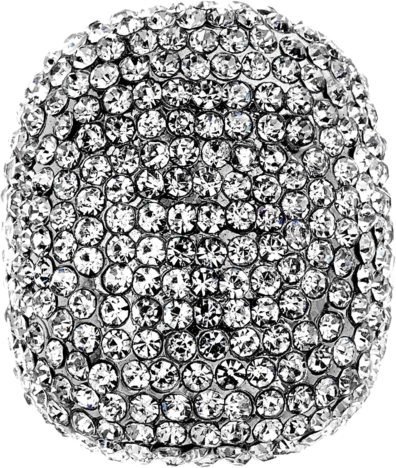 Steve Madden Silver Tone Pave Rhinestone Statement Ring For Women