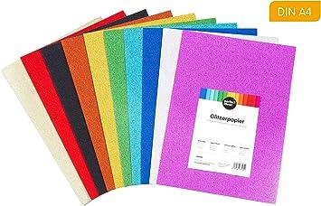 perfect ideaz cartulinas de brillantina de colores, 30 hojas DIN ...
