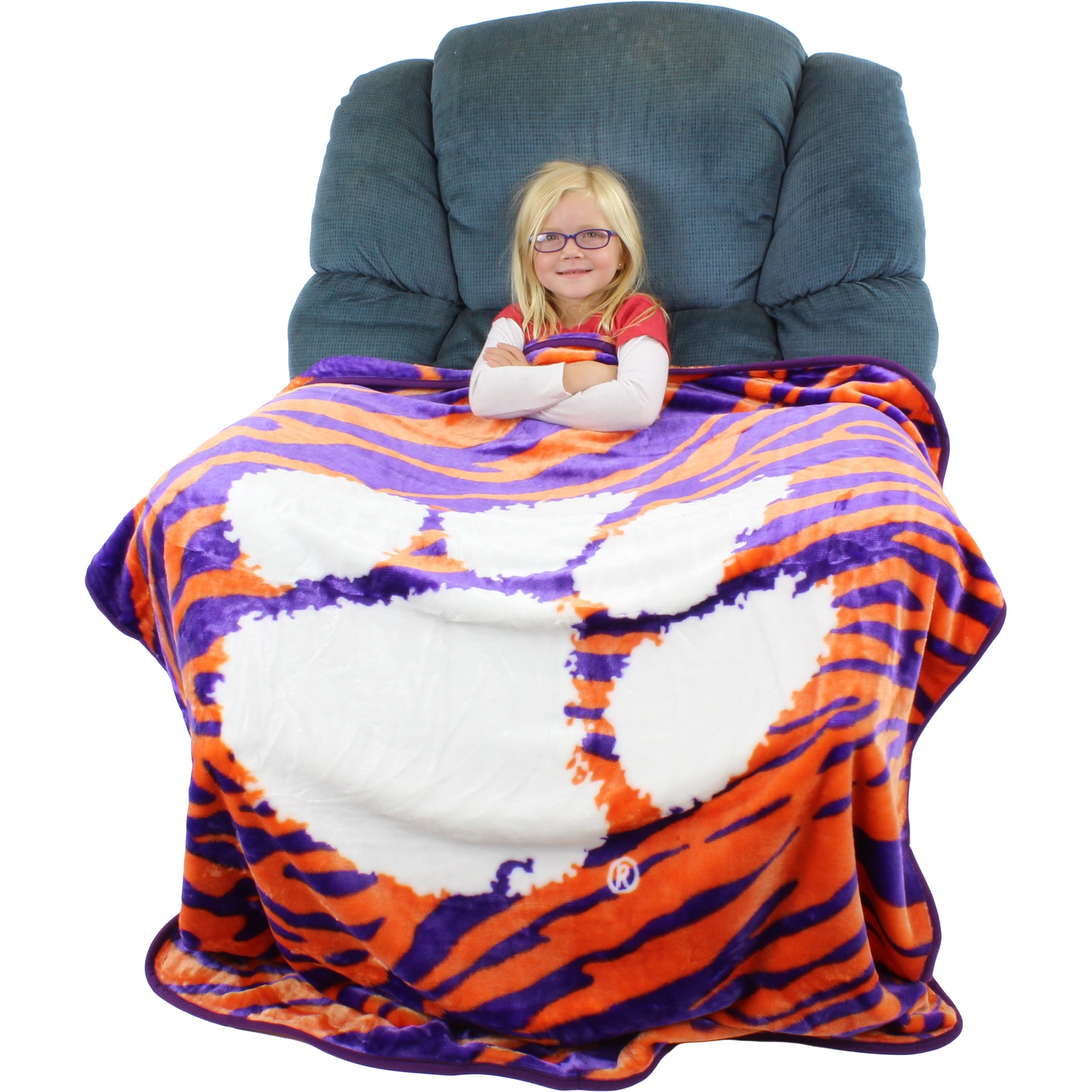 College Covers Raschel Throw Blanket, 50'' x 60'', Clemson Tigers by College Covers