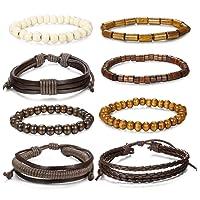 Milacolato 8-14 pcs Bracelet en Cuir tressé pour Hommes Femmes Perles en Bois Bracelets Wrap réglable