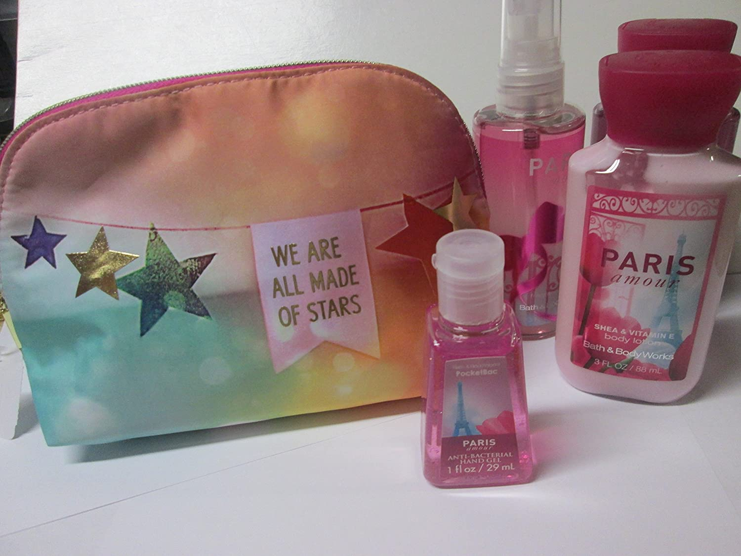 "Bath and Body Works Paris Amour Gift Set- Bag that reads"" We Are All Made Of Stars"""