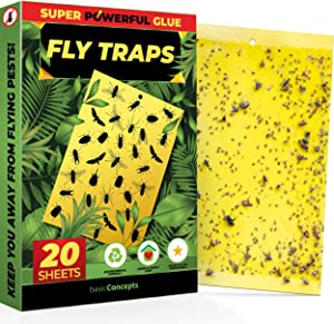 Fruit Fly Trap (20 Pack), Double-Sided Yellow Sticky Traps (Indoor & Outdoor), Fruit Fly Traps for Kitchen & Plants, Fruit Fly Killer - Sticky Gnat Trap Indoor Solution, Fungus Gnat Traps