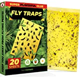 Fruit Fly Trap (20 Pack), Double-Sided Yellow Sticky Traps (Indoor & Outdoor), Fruit Fly Traps for Kitchen & Plants…