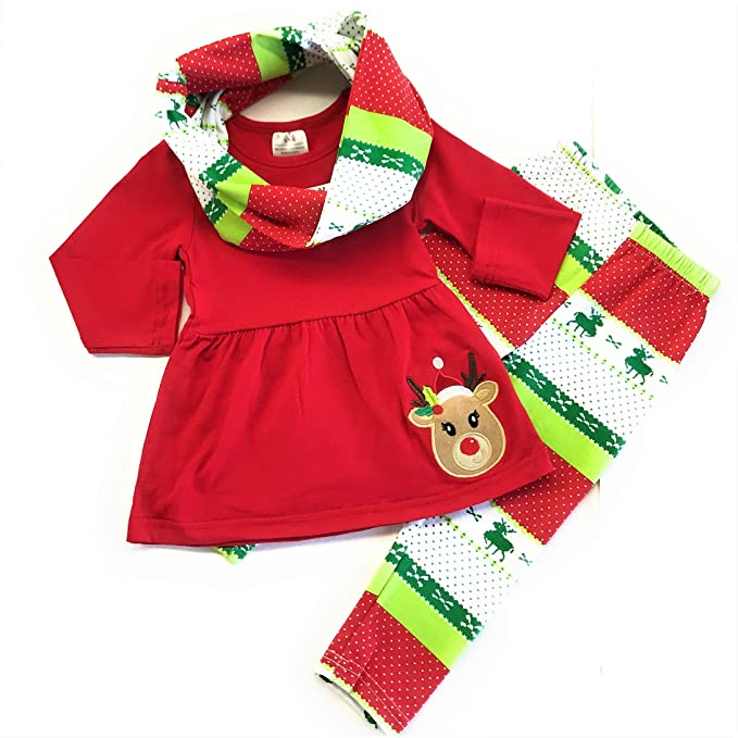 53d213a18743 Cute Kids Clothing Red & Green Reindeer Outfit Baby Girl Christmas Outfit  Toddler Girl/Girl's
