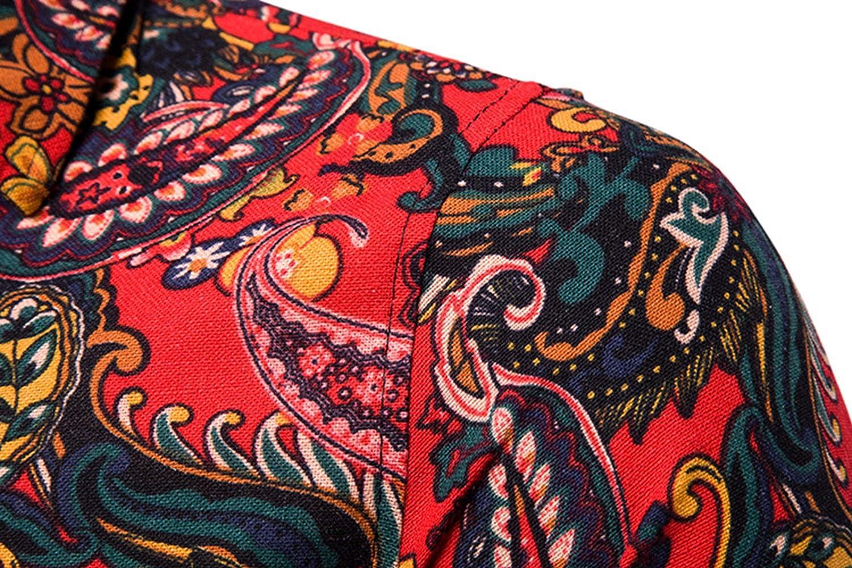 Vintage Paisley Print Hawaiian Shirt Men Summer Short Sleeve Mens Dress Shirts Wedding Party Prom Shirt