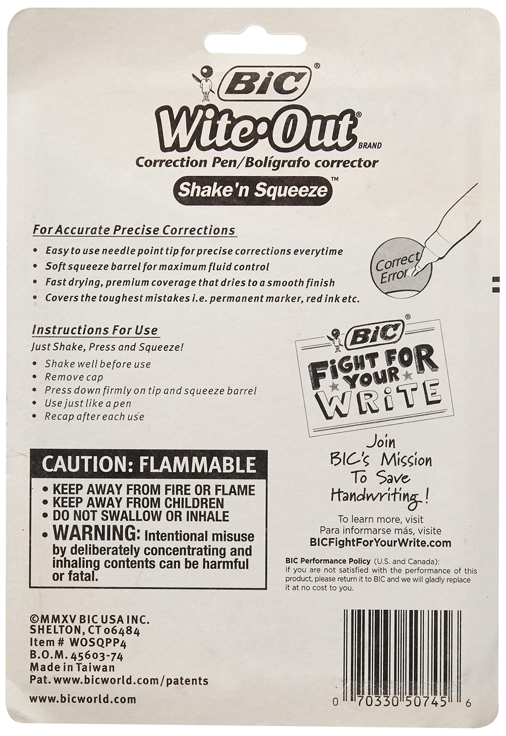 BIC Wite-Out Shake 'n Squeeze Correction Pen, 8 ml, White, 4/Pack (WOSQPP418) by BIC (Image #2)
