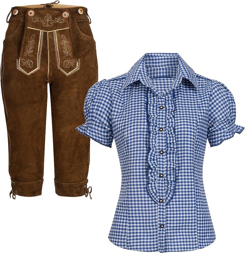 Conjunto de traje regional de mujer, pantalón de piel, rodillera, marrón claro con tirantes + blusa para traje tradicional Ronda. Colores: azul y blanco a cuadros 50: Amazon.es: Ropa y accesorios