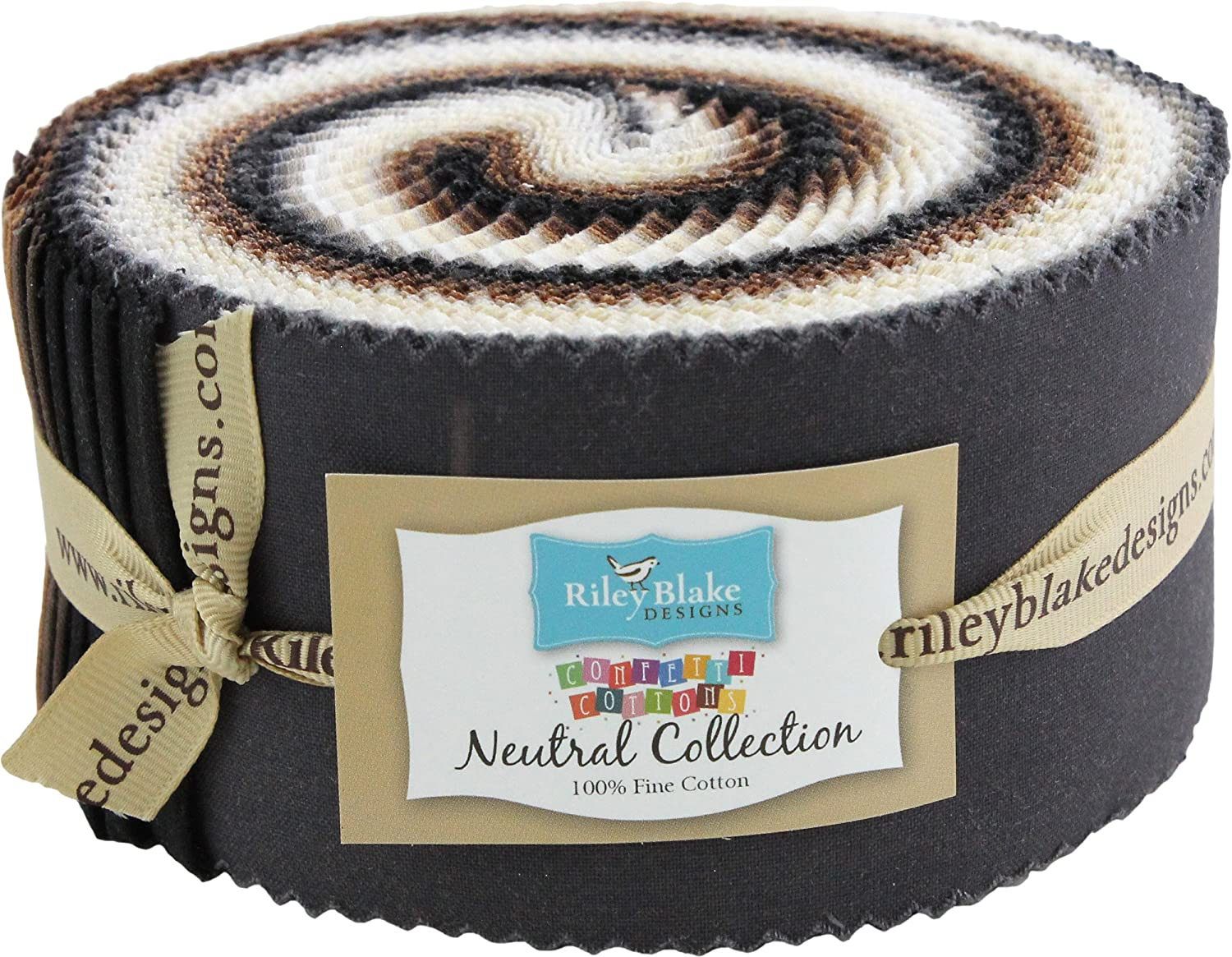 Confetti Cottons Neutral Rolie Polie 40 2.5-inch Strips Jelly Roll Riley Blake Designs RP-NE120-40