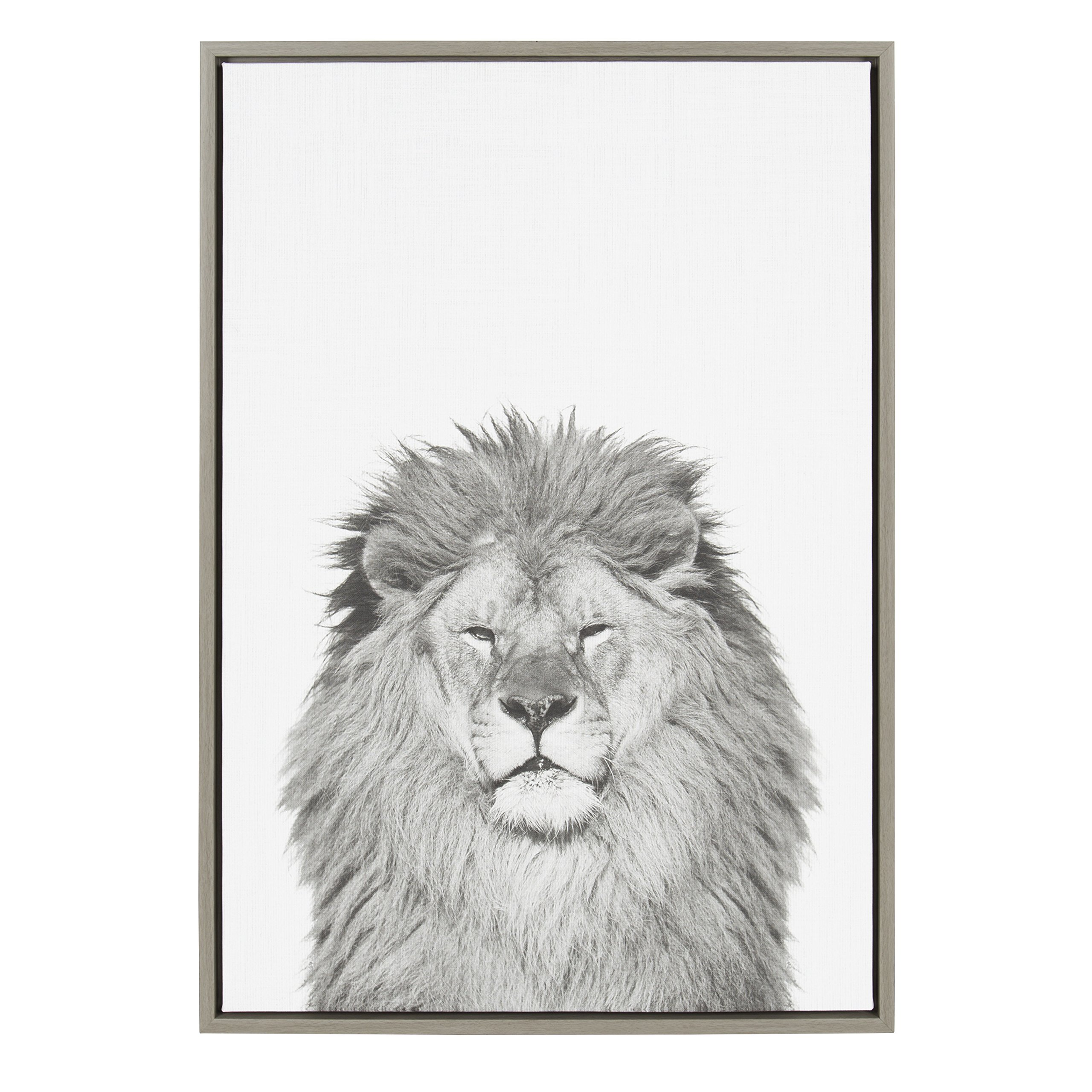 Kate and Laurel Sylvie Lion Animal Print Black and White Portrait Framed Canvas Wall Art by Simon Te Tai, Gray 23x33